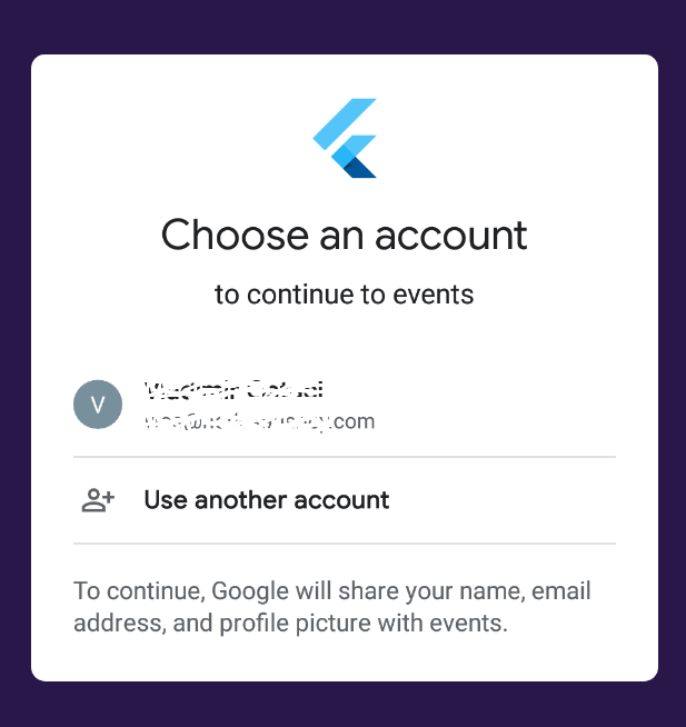 google signin account dialog